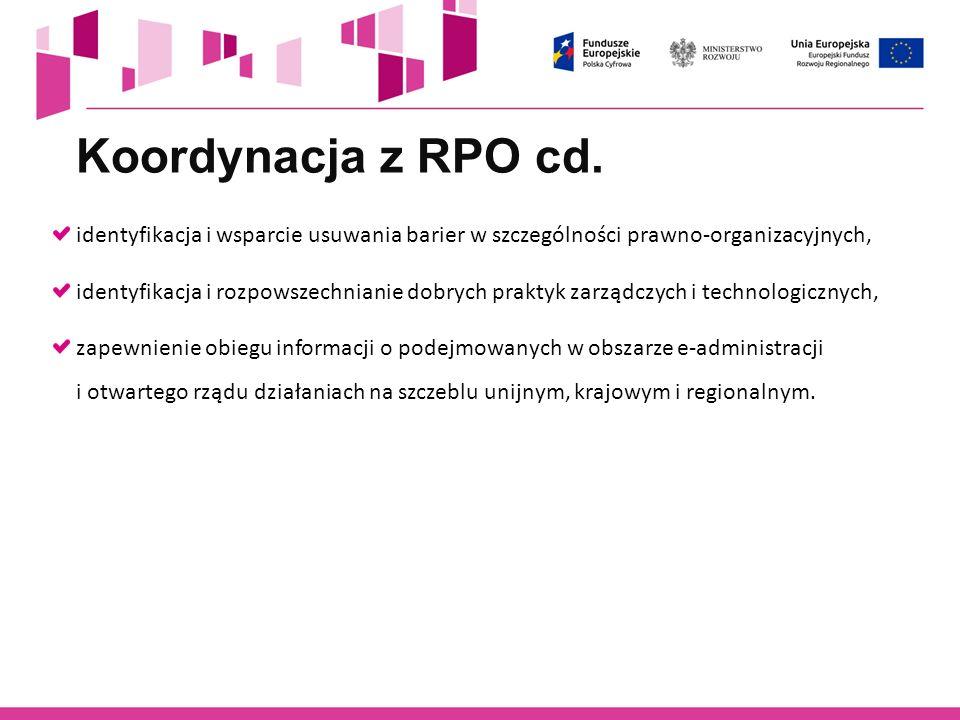 identyfikacja i wsparcie usuwania barier w szczególności prawno-organizacyjnych, identyfikacja i rozpowszechnianie dobrych praktyk zarządczych i techn
