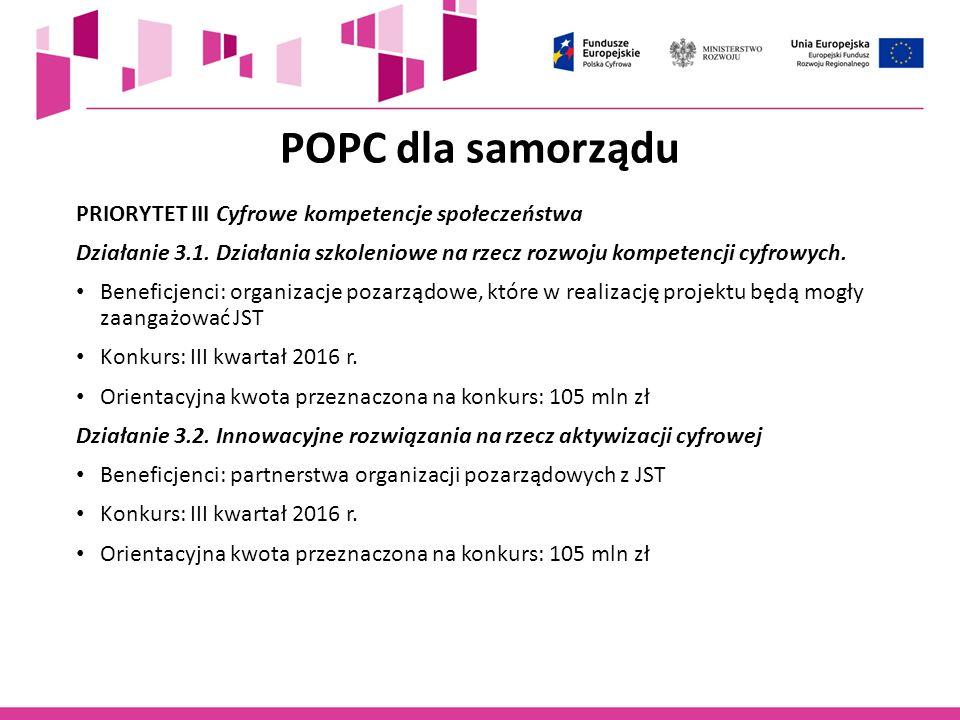 POPC dla samorządu PRIORYTET III Cyfrowe kompetencje społeczeństwa Działanie 3.1. Działania szkoleniowe na rzecz rozwoju kompetencji cyfrowych. Benefi