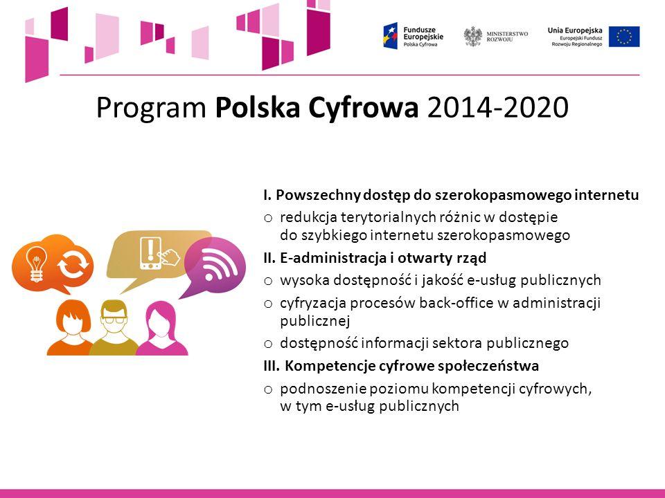 Cele POPC 2014-2020 o powszechny dostęp do szerokopasmowego internetu powyżej 30 Mb/s do roku 2020 o wszyscy mieszkańcy powinni mieć dostęp do zaawansowanych publicznych usług elektronicznych do roku 2020 o ponad 50% mieszkańców powinno posiadać przynajmniej średni poziom kompetencji cyfrowych