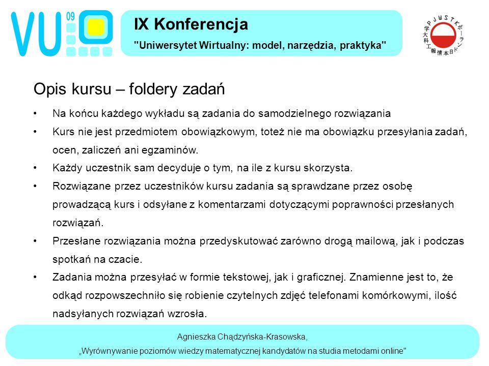 """Agnieszka Chądzyńska-Krasowska, """"Wyrównywanie poziomów wiedzy matematycznej kandydatów na studia metodami online Opis kursu – foldery zadań Na końcu każdego wykładu są zadania do samodzielnego rozwiązania Kurs nie jest przedmiotem obowiązkowym, toteż nie ma obowiązku przesyłania zadań, ocen, zaliczeń ani egzaminów."""