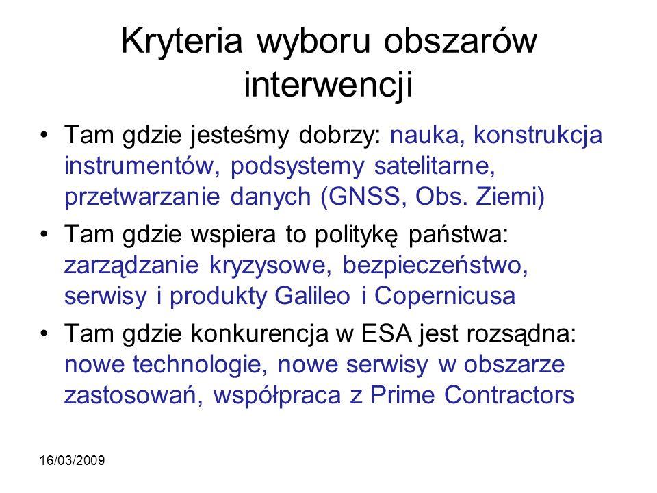 Kryteria wyboru obszarów interwencji Tam gdzie jesteśmy dobrzy: nauka, konstrukcja instrumentów, podsystemy satelitarne, przetwarzanie danych (GNSS, Obs.