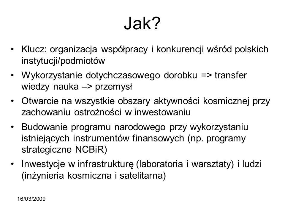 Jak? Klucz: organizacja współpracy i konkurencji wśród polskich instytucji/podmiotów Wykorzystanie dotychczasowego dorobku => transfer wiedzy nauka –>