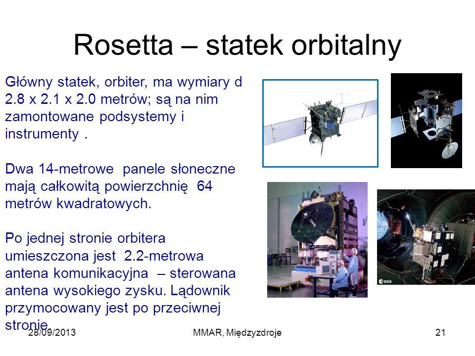 Rosetta – statek orbitalny 28/09/2013MMAR, Międzyzdroje21 Główny statek, orbiter, ma wymiary d 2.8 x 2.1 x 2.0 metrów; są na nim zamontowane podsystemy i instrumenty.