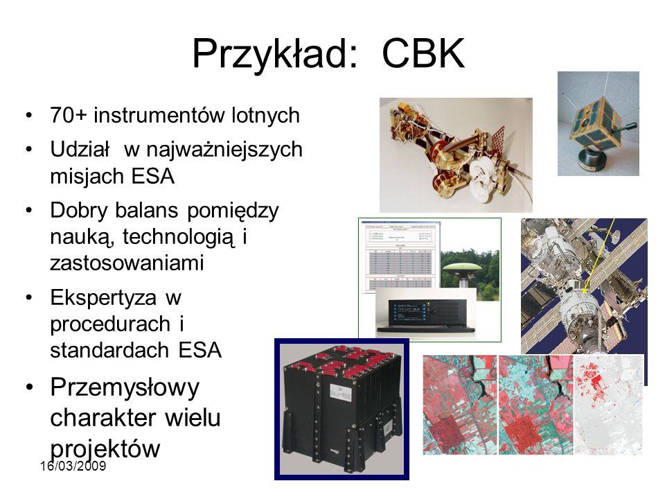 Przykład: CBK 70+ instrumentów lotnych Udział w najważniejszych misjach ESA Dobry balans pomiędzy nauką, technologią i zastosowaniami Ekspertyza w procedurach i standardach ESA Przemysłowy charakter wielu projektów 16/03/2009