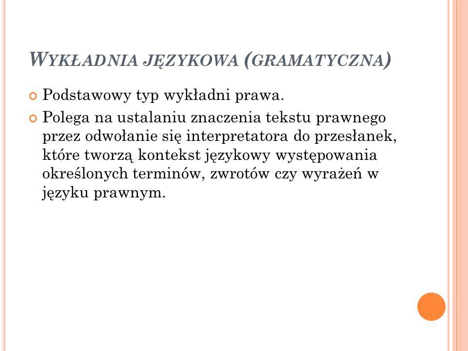 W YKŁADNIA JĘZYKOWA ( GRAMATYCZNA ) Podstawowy typ wykładni prawa. Polega na ustalaniu znaczenia tekstu prawnego przez odwołanie się interpretatora do