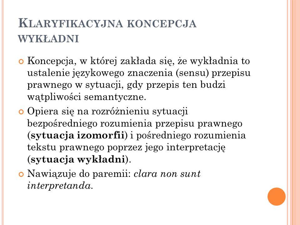 K LARYFIKACYJNA KONCEPCJA WYKŁADNI Koncepcja, w której zakłada się, że wykładnia to ustalenie językowego znaczenia (sensu) przepisu prawnego w sytuacj