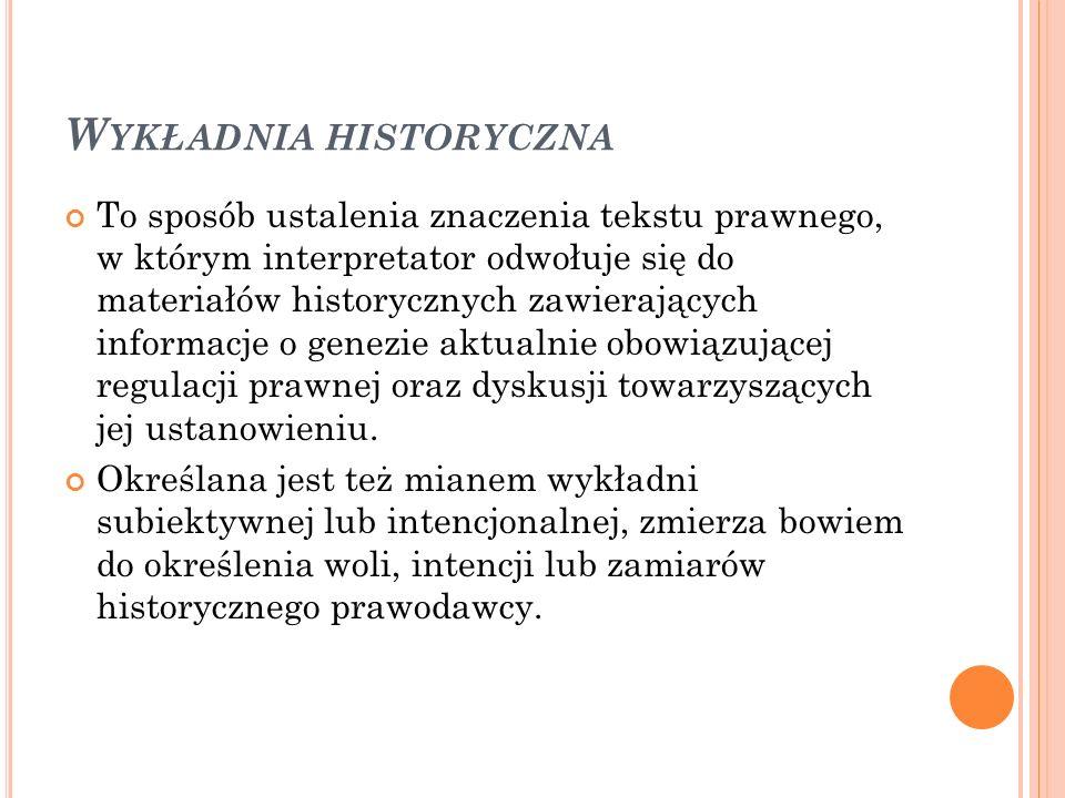 W YKŁADNIA HISTORYCZNA To sposób ustalenia znaczenia tekstu prawnego, w którym interpretator odwołuje się do materiałów historycznych zawierających in