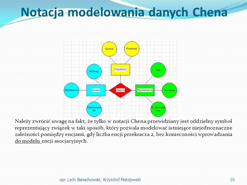 Notacja modelowania danych Chena Należy zwrócić uwagę na fakt, że tylko w notacji Chena przewidziany jest oddzielny symbol reprezentujący związek w ta
