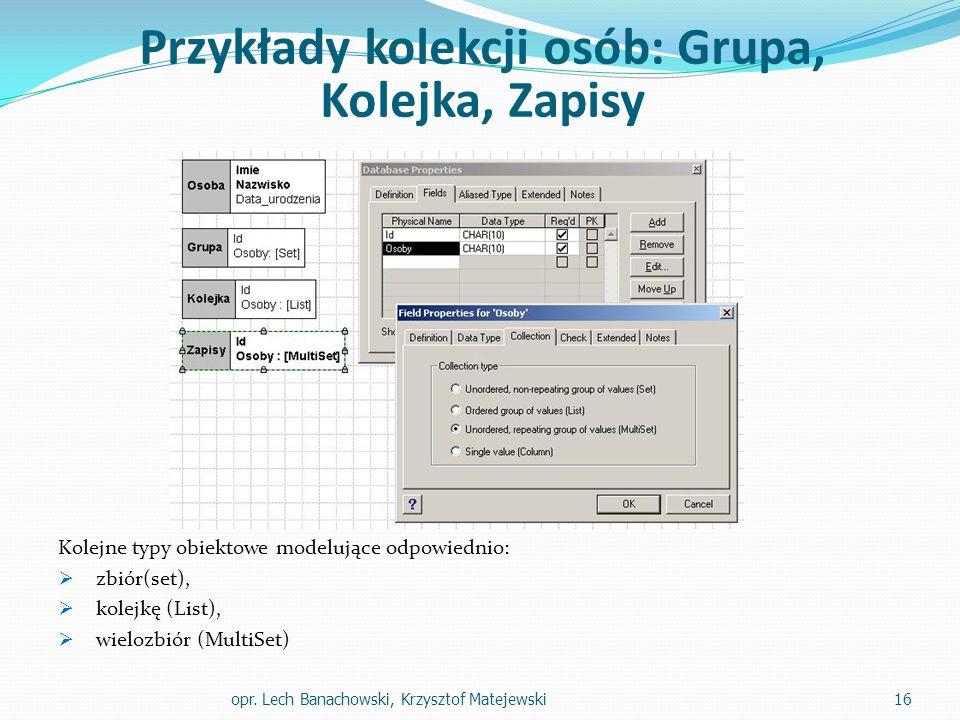 Przykłady kolekcji osób: Grupa, Kolejka, Zapisy Kolejne typy obiektowe modelujące odpowiednio:  zbiór(set),  kolejkę (List),  wielozbiór (MultiSet)