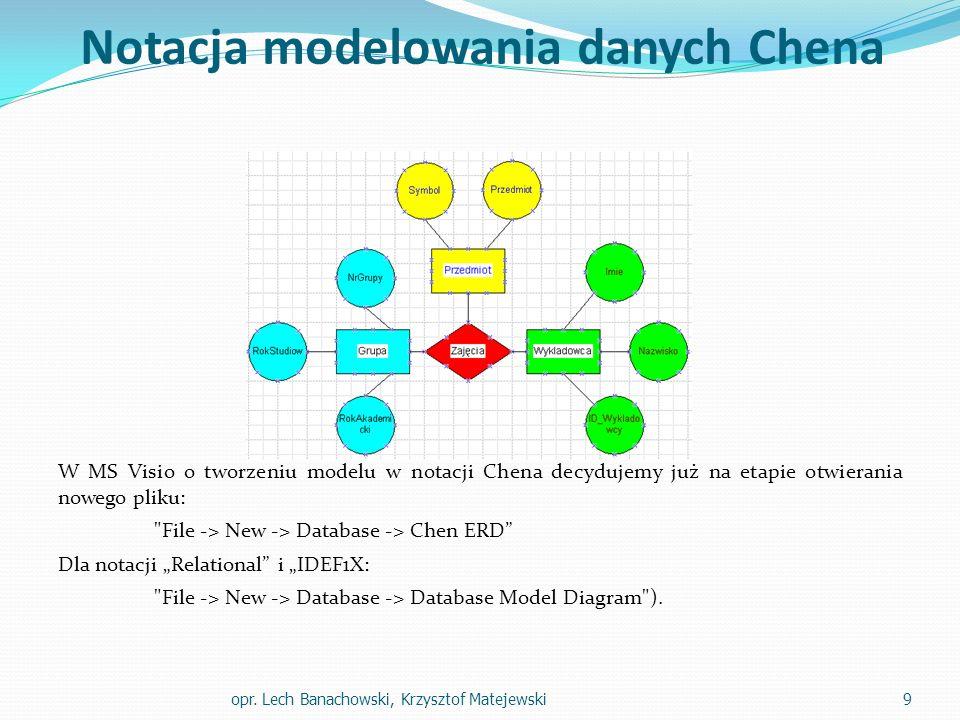 """Notacja modelowania danych Chena W MS Visio o tworzeniu modelu w notacji Chena decydujemy już na etapie otwierania nowego pliku: File -> New -> Database -> Chen ERD Dla notacji """"Relational i """"IDEF1X: File -> New -> Database -> Database Model Diagram )."""
