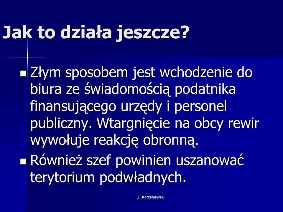 Z. Korzeniewski Jak to działa jeszcze? Złym sposobem jest wchodzenie do biura ze świadomością podatnika finansującego urzędy i personel publiczny. Wta