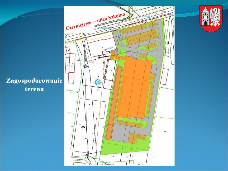 Podstawowe parametry: - długość budynku – 69,76 m - szerokość budynku – 33,14 m - wysokość budynku – 11,40 m - płyta boiska – wielofunkcyjna o wymiarach 44,10 m x 24,10 m - widownia 260 miejsc (174 + 84 + 2NPS) - ilość miejsc parkingowych – 76 + 2 autobusowe