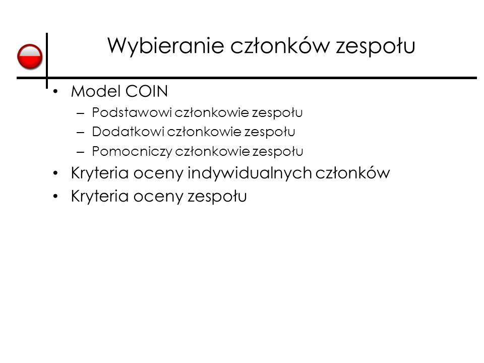 Wybieranie członków zespołu Model COIN – Podstawowi członkowie zespołu – Dodatkowi członkowie zespołu – Pomocniczy członkowie zespołu Kryteria oceny indywidualnych członków Kryteria oceny zespołu