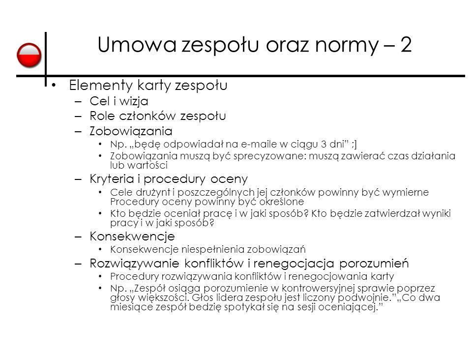 Umowa zespołu oraz normy – 2 Elementy karty zespołu – Cel i wizja – Role członków zespołu – Zobowiązania Np.