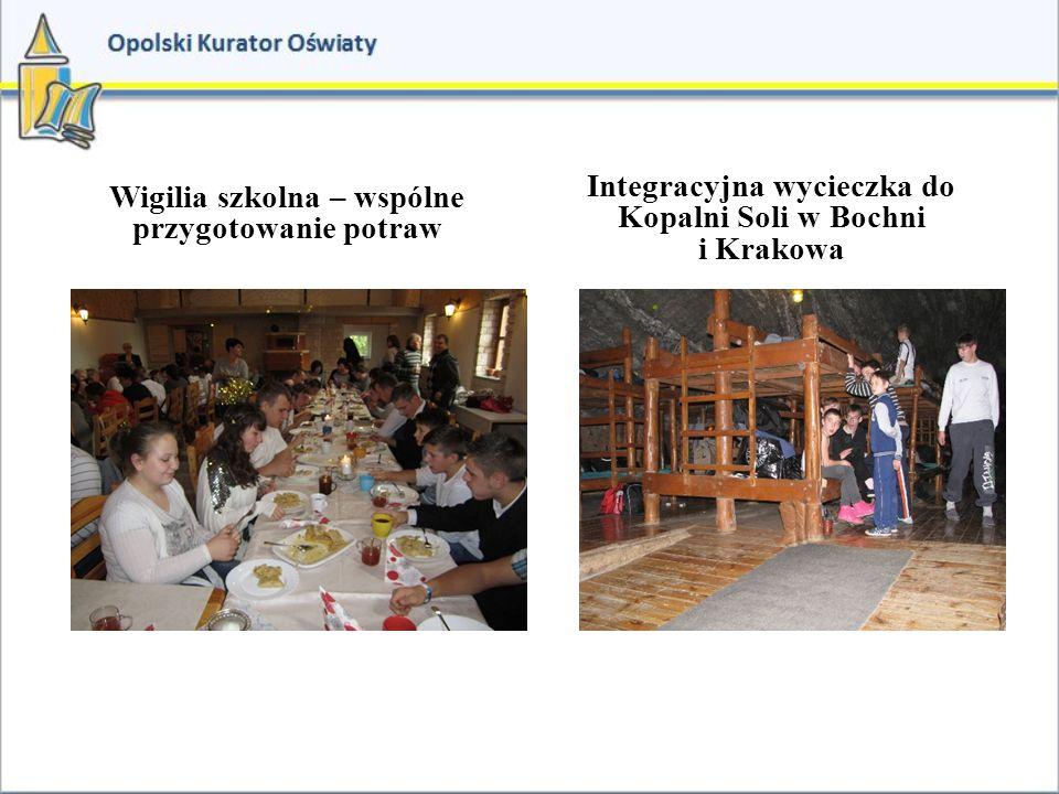 Wigilia szkolna – wspólne przygotowanie potraw Integracyjna wycieczka do Kopalni Soli w Bochni i Krakowa