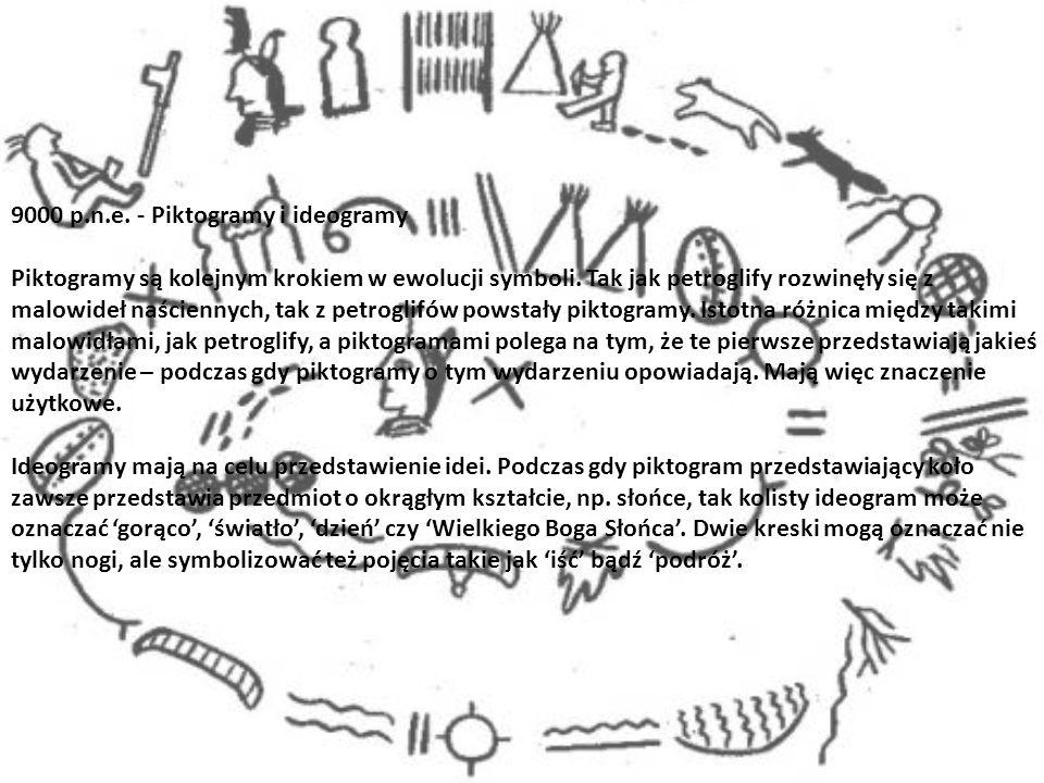 9000 p.n.e. - Piktogramy i ideogramy Piktogramy są kolejnym krokiem w ewolucji symboli. Tak jak petroglify rozwinęły się z malowideł naściennych, tak