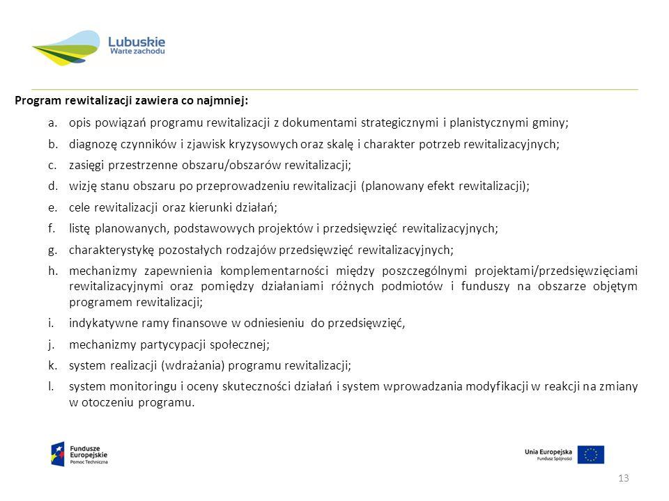 Program rewitalizacji zawiera co najmniej: a.opis powiązań programu rewitalizacji z dokumentami strategicznymi i planistycznymi gminy; b.diagnozę czyn