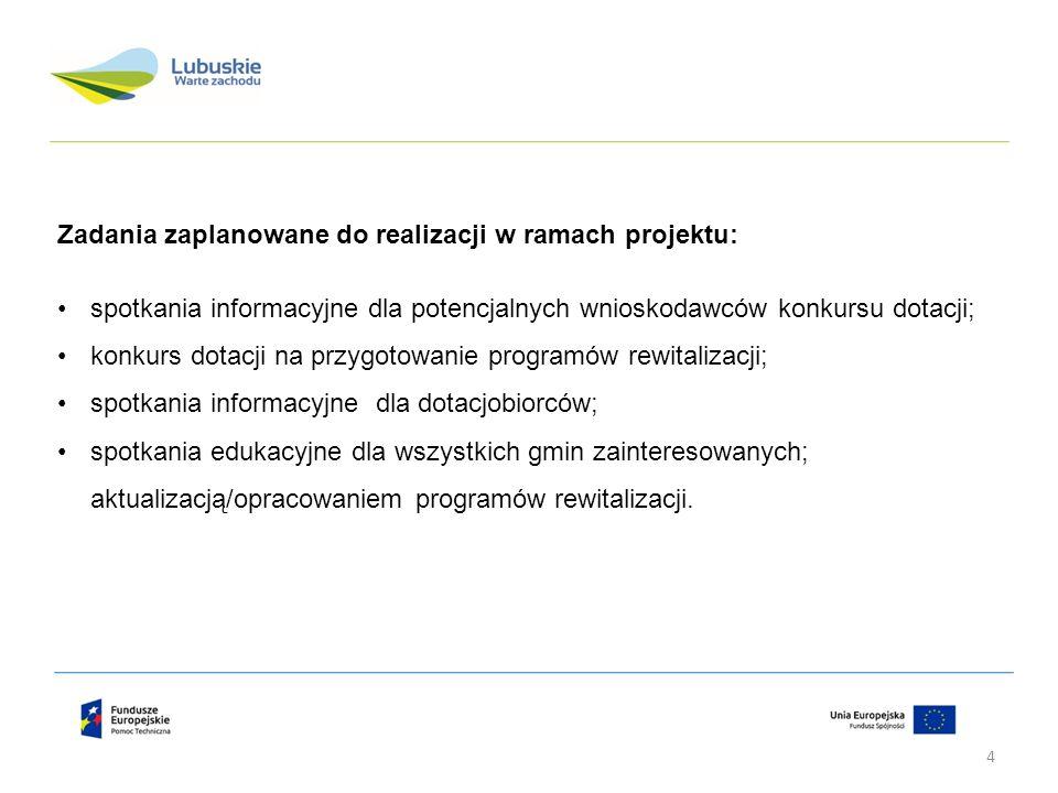 Zadania zaplanowane do realizacji w ramach projektu: spotkania informacyjne dla potencjalnych wnioskodawców konkursu dotacji; konkurs dotacji na przyg
