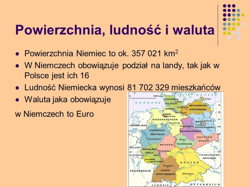 Powierzchnia, ludność i waluta Powierzchnia Niemiec to ok. 357 021 km 2 W Niemczech obowiązuje podział na landy, tak jak w Polsce jest ich 16 Ludność