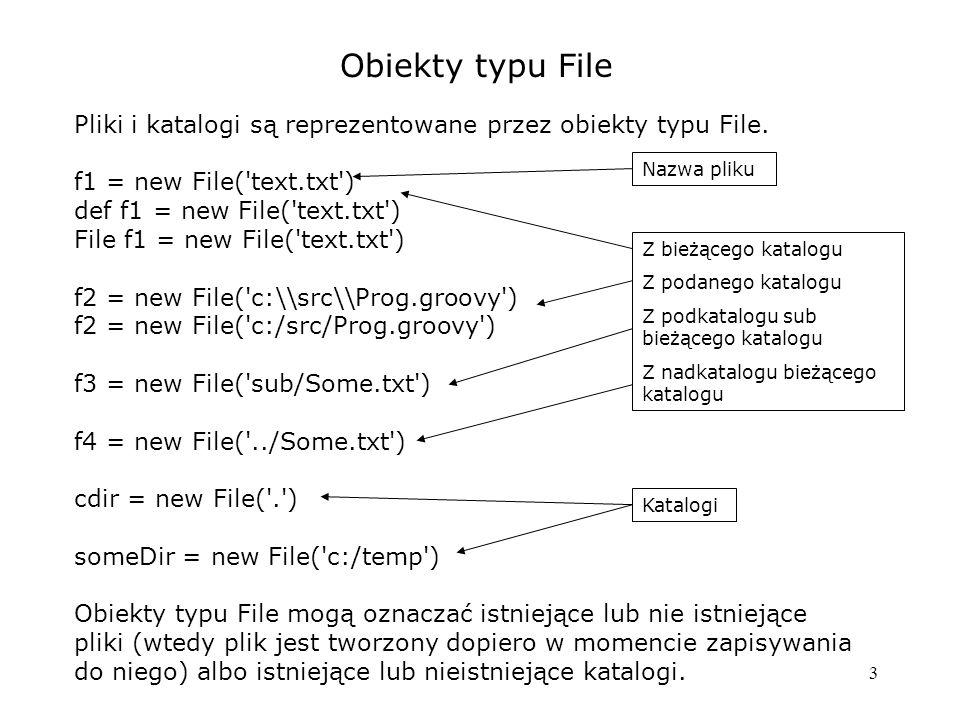 4 Czytanie plików tekstowych def file = new File(...) def cont = file.getText() def cont = file.text // skrót def lineList = file.readLines() file.eachLine { line -> // process line } file.splitEachLine(sep) { tokenListInLine -> // process token list } Wczytanie całego pliku naraz Uzyskanie listy wierszy Przetwarzanie wiersz po wierszu w domknięciu Przetwarzanie z rozbiorem wierszy