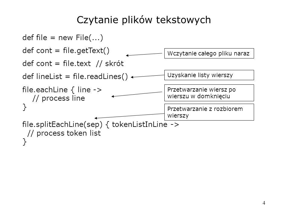 15 Pliki - zarządzanie zasobami 1) otwarcie pliku 2) operacje 3) zamknięcie pliku (i np.