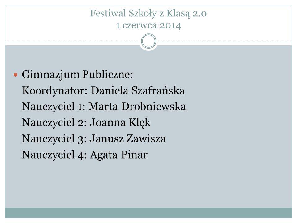 Festiwal Szkoły z Klasą 2.0 1 czerwca 2014 Gimnazjum Publiczne: Koordynator: Daniela Szafrańska Nauczyciel 1: Marta Drobniewska Nauczyciel 2: Joanna K