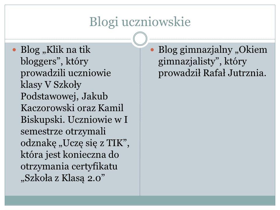 """Blogi uczniowskie Blog """"Klik na tik bloggers"""", który prowadzili uczniowie klasy V Szkoły Podstawowej, Jakub Kaczorowski oraz Kamil Biskupski. Uczniowi"""