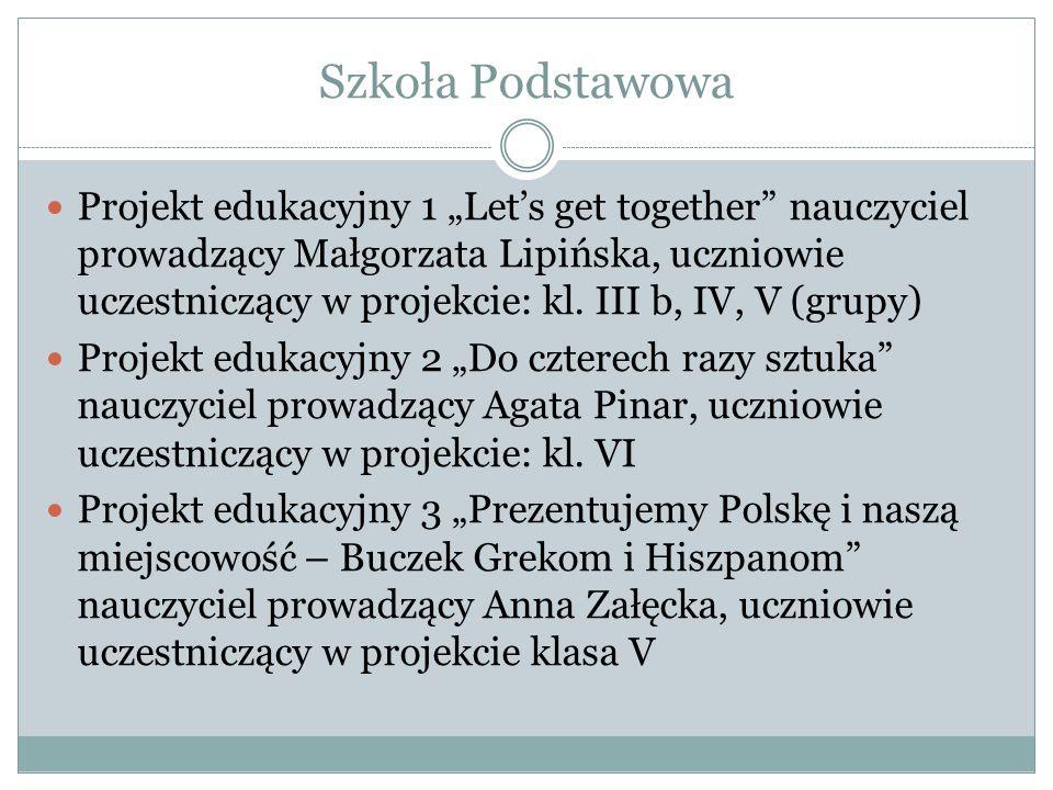 """Szkoła Podstawowa Projekt edukacyjny 1 """"Let's get together"""" nauczyciel prowadzący Małgorzata Lipińska, uczniowie uczestniczący w projekcie: kl. III b,"""
