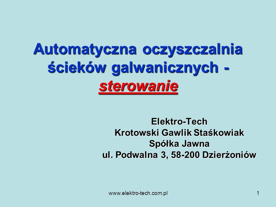 www.elektro-tech.com.pl1 Automatyczna oczyszczalnia ścieków galwanicznych - sterowanie Elektro-Tech Krotowski Gawlik Staśkowiak Spółka Jawna ul. Podwa