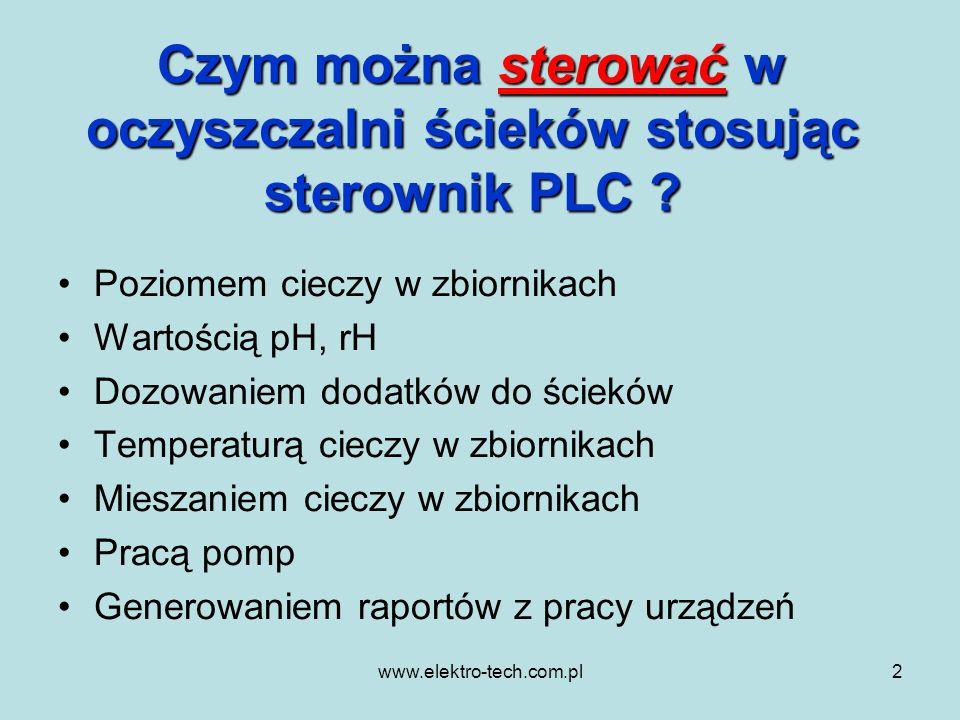 www.elektro-tech.com.pl2 Czym można sterować w oczyszczalni ścieków stosując sterownik PLC ? Poziomem cieczy w zbiornikach Wartością pH, rH Dozowaniem