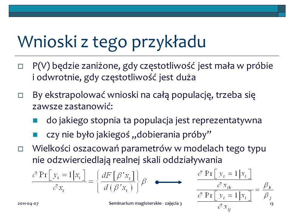 2011-04-07Seminarium magisterskie - zajęcia 313 Wnioski z tego przykładu  P(V) będzie zaniżone, gdy częstotliwość jest mała w próbie i odwrotnie, gdy