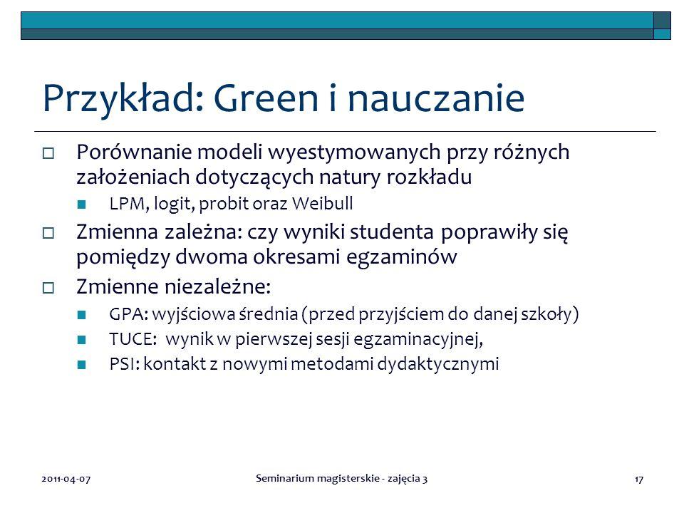 2011-04-07Seminarium magisterskie - zajęcia 317 Przykład: Green i nauczanie  Porównanie modeli wyestymowanych przy różnych założeniach dotyczących na
