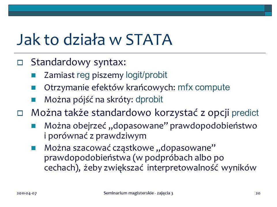 2011-04-07Seminarium magisterskie - zajęcia 320 Jak to działa w STATA  Standardowy syntax: Zamiast reg piszemy logit/probit Otrzymanie efektów krańco