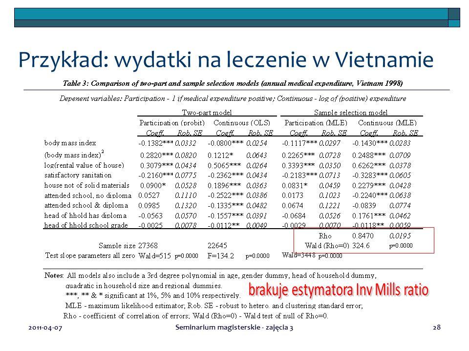 2011-04-07Seminarium magisterskie - zajęcia 328 Przykład: wydatki na leczenie w Vietnamie