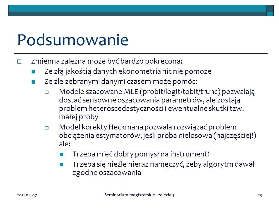 2011-04-07Seminarium magisterskie - zajęcia 329 Podsumowanie  Zmienna zależna może być bardzo pokręcona: Ze złą jakością danych ekonometria nic nie p