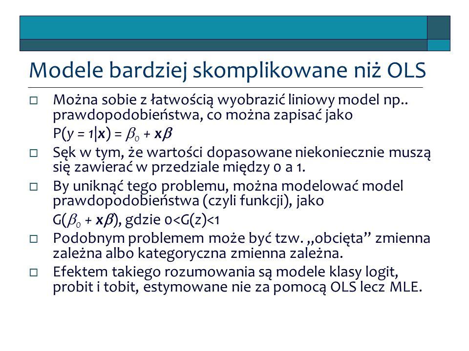 Modele bardziej skomplikowane niż OLS  Można sobie z łatwością wyobrazić liniowy model np.. prawdopodobieństwa, co można zapisać jako P(y = 1|x) = 