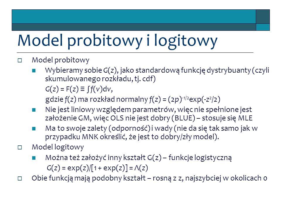 Model probitowy i logitowy  Model probitowy Wybieramy sobie G(z), jako standardową funkcję dystrybuanty (czyli skumulowanego rozkładu, tj. cdf) G(z)