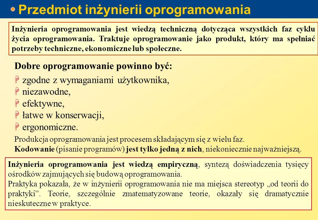 Przedmiot inżynierii oprogramowania Inżynieria oprogramowania jest wiedzą techniczną dotycząca wszystkich faz cyklu życia oprogramowania.