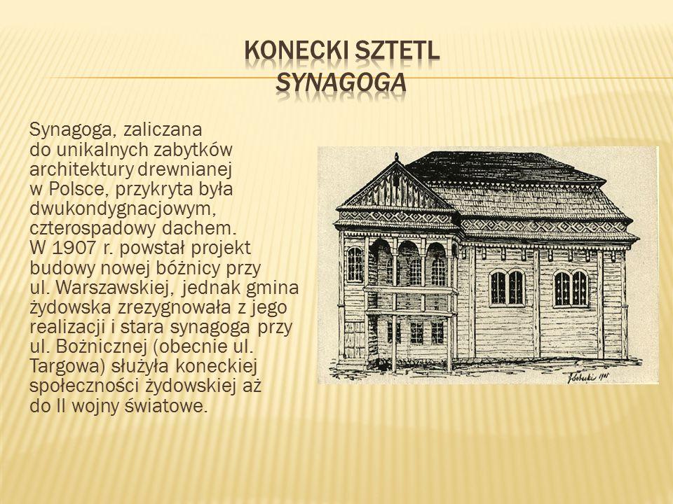 Synagoga, zaliczana do unikalnych zabytków architektury drewnianej w Polsce, przykryta była dwukondygnacjowym, czterospadowy dachem. W 1907 r. powstał