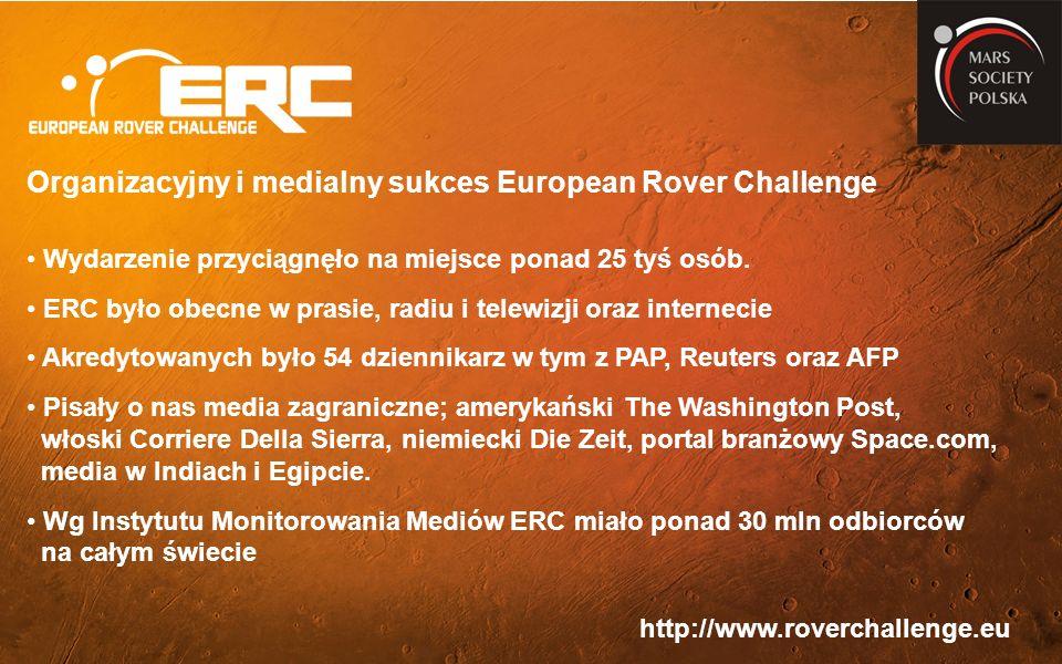 http://www.roverchallenge.eu Organizacyjny i medialny sukces European Rover Challenge Wydarzenie przyciągnęło na miejsce ponad 25 tyś osób.