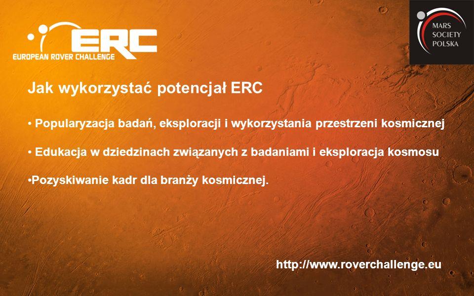 http://www.roverchallenge.eu Jak wykorzystać potencjał ERC Popularyzacja badań, eksploracji i wykorzystania przestrzeni kosmicznej Edukacja w dziedzinach związanych z badaniami i eksploracja kosmosu Pozyskiwanie kadr dla branży kosmicznej.