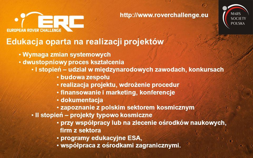 http://www.roverchallenge.eu Edukacja oparta na realizacji projektów Wymaga zmian systemowych dwustopniowy proces kształcenia I stopień – udział w międzynarodowych zawodach, konkursach budowa zespołu realizacja projektu, wdrożenie procedur finansowanie i marketing, konferencje dokumentacja zapoznanie z polskim sektorem kosmicznym II stopień – projekty typowo kosmiczne przy współpracy lub na zlecenie ośrodków naukowych, firm z sektora programy edukacyjne ESA, współpraca z ośrodkami zagranicznymi.