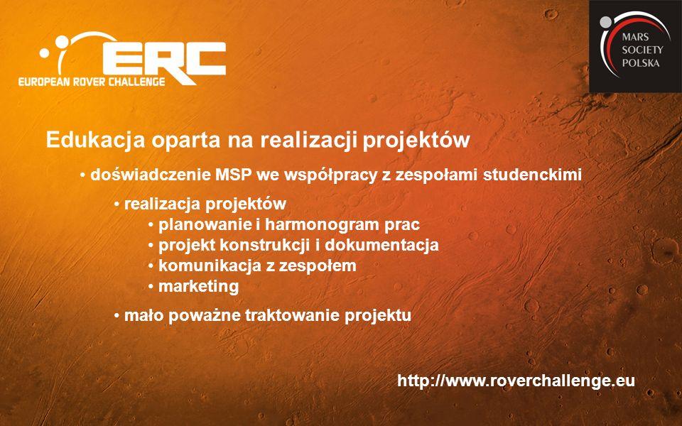 Edukacja oparta na realizacji projektów doświadczenie MSP we współpracy z zespołami studenckimi realizacja projektów planowanie i harmonogram prac projekt konstrukcji i dokumentacja komunikacja z zespołem marketing mało poważne traktowanie projektu http://www.roverchallenge.eu