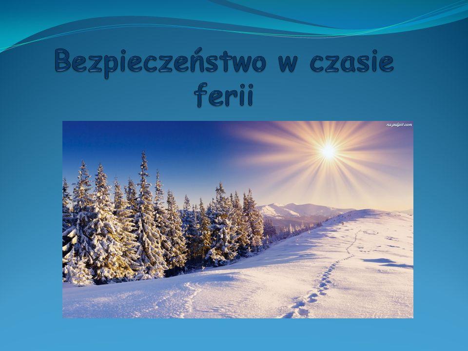 Jazda na sankach Pamiętaj, by w czasie ferii zimowych zjeżdżać na sankach tylko w bezpiecznym i sprawdzonym miejscu.