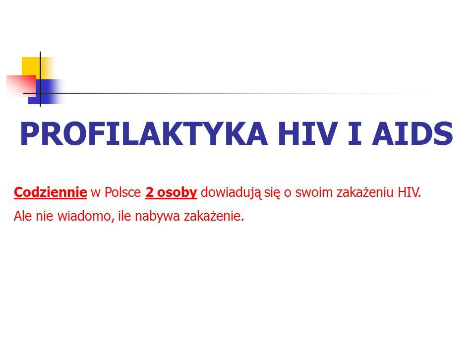 PROFILAKTYKA HIV I AIDS Codziennie w Polsce 2 osoby dowiadują się o swoim zakażeniu HIV. Ale nie wiadomo, ile nabywa zakażenie.