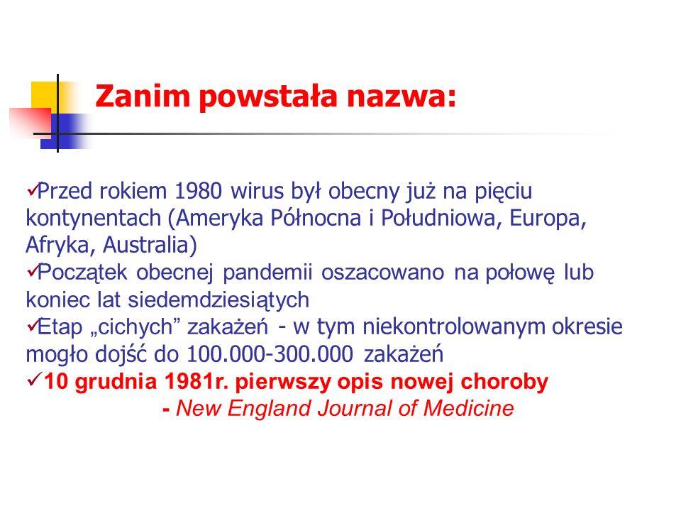 Przed rokiem 1980 wirus był obecny już na pięciu kontynentach (Ameryka Północna i Południowa, Europa, Afryka, Australia) Początek obecnej pandemii osz