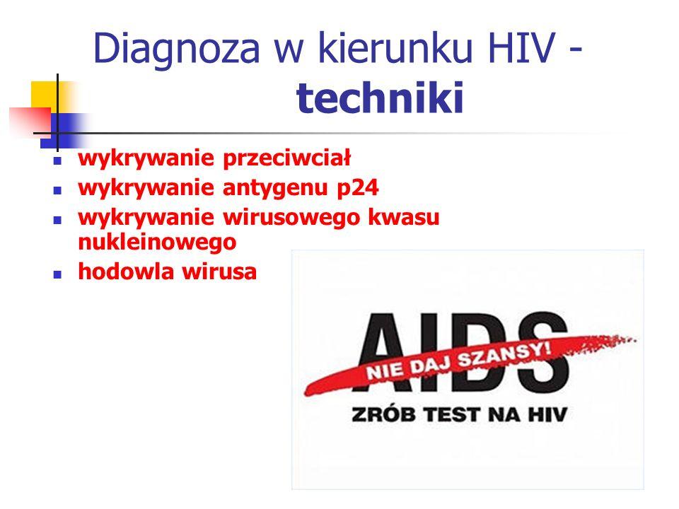 Diagnoza w kierunku HIV - techniki wykrywanie przeciwciał wykrywanie antygenu p24 wykrywanie wirusowego kwasu nukleinowego hodowla wirusa