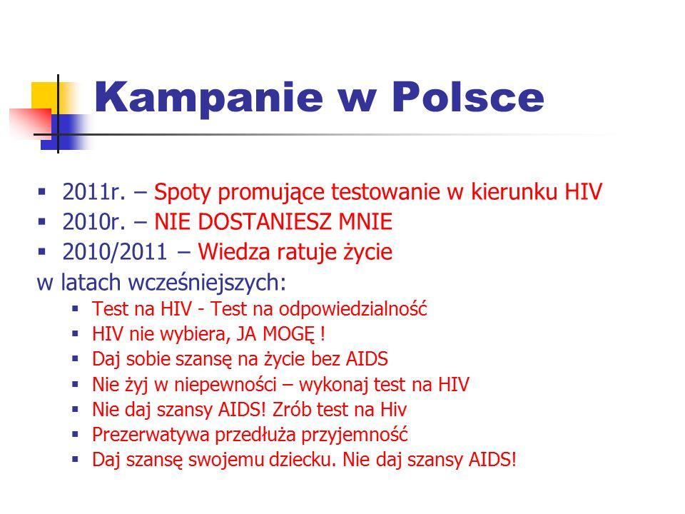 Kampanie w Polsce  2011r. – Spoty promujące testowanie w kierunku HIV  2010r. – NIE DOSTANIESZ MNIE  2010/2011 – Wiedza ratuje życie w latach wcześ