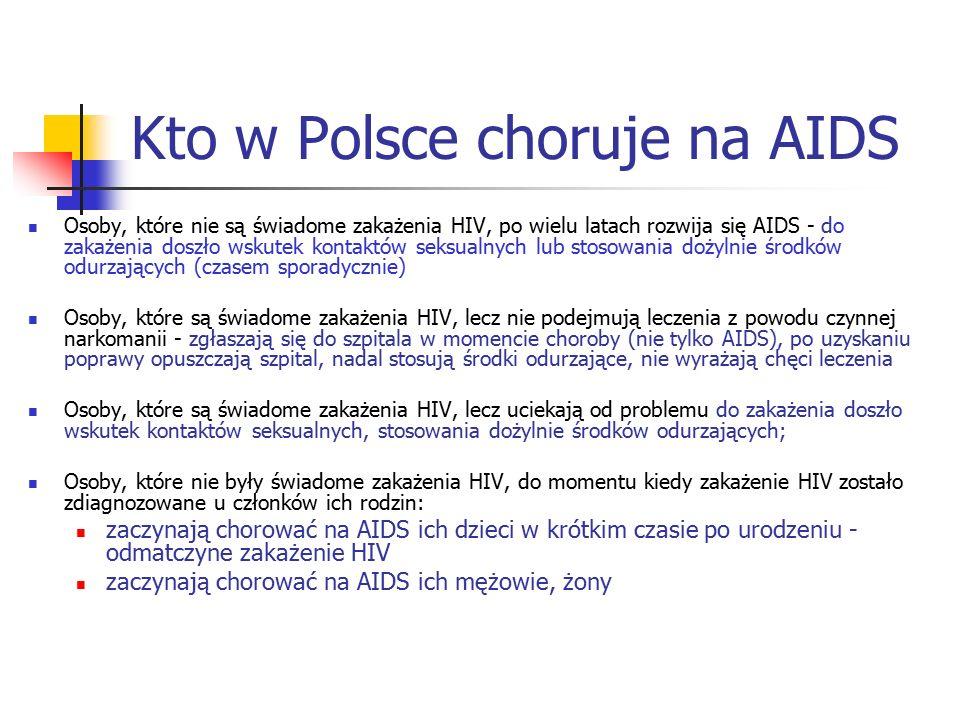 Kto w Polsce choruje na AIDS Osoby, które nie są świadome zakażenia HIV, po wielu latach rozwija się AIDS - do zakażenia doszło wskutek kontaktów seks