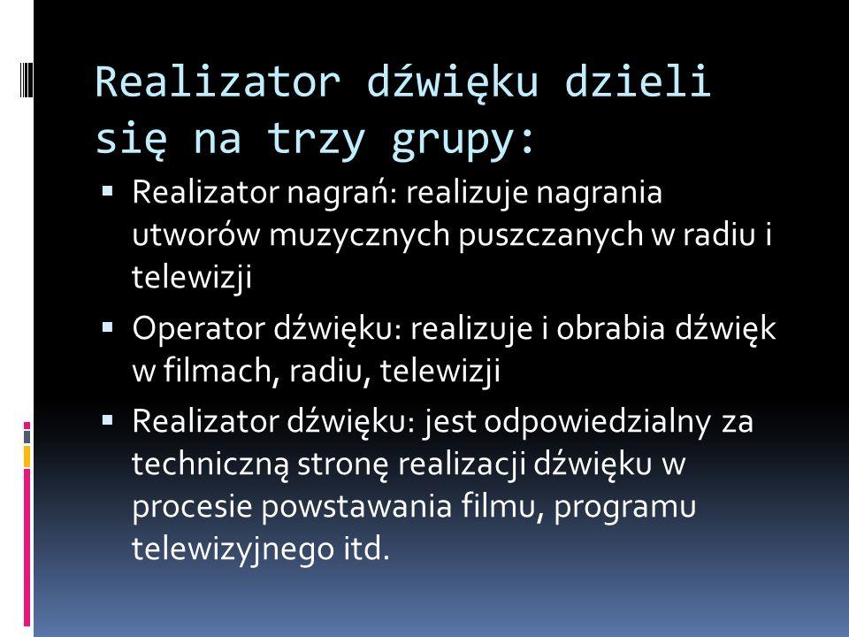 Realizator dźwięku dzieli się na trzy grupy:  Realizator nagrań: realizuje nagrania utworów muzycznych puszczanych w radiu i telewizji  Operator dźwięku: realizuje i obrabia dźwięk w filmach, radiu, telewizji  Realizator dźwięku: jest odpowiedzialny za techniczną stronę realizacji dźwięku w procesie powstawania filmu, programu telewizyjnego itd.